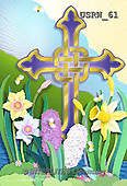Randy, EASTER RELIGIOUS, OSTERN RELIGIÖS, PASCUA RELIGIOSA, paintings+++++Easter-Cross-Flowers-paperdesign,USRW61,#ER#
