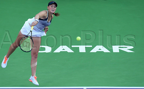 26.02.2016. Doha, Qatar.  Jelena Ostapenko of Latvia competes during her womens singles quarterfinal match against Zheng Saisai of China at the WTA Tennis Damen Qatar Open 2016 in Doha, Qatar, Feb. 25, 2016. Jelena Ostapenko won 2-0.