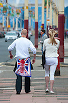 © Joel Goodman - 07973 332324 - all rights reserved . 20/06/2009 . Blackpool , UK . Those opposed to and in favour of a British National Party ( BNP ) meeting , protest outside the hosting hotel , on Blackpool promenade . Photo credit : Joel Goodman
