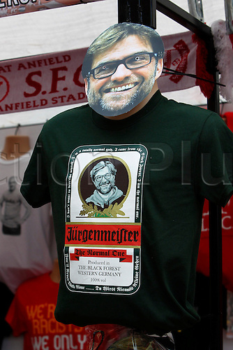 25.10.2015. Anfield, Liverpool, England. Barclays Premier League. Liverpool versus Southampton. Memorabilia on sale before the game featuring new manager Jurgen Klopp.