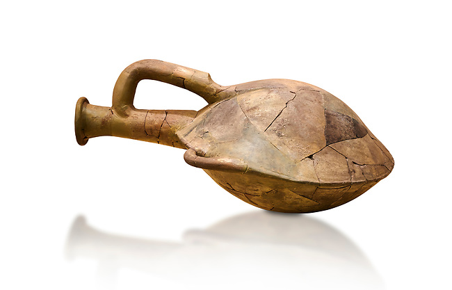 Hittite terra cotta water bottle carried by straps on the back. Hittite Old Period, 1650 - 1450 BC. Huseyindede. Çorum Archaeological Museum, Corum, Turkey. Against a white bacground.