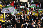 Supporters of the Fatah wave flags as they join in celebrations on the occasion of the 47th anniversary of the founding of the Fatah movement in the West Bank City of Nablus, 05 January 2012. The Fatah Movement, which nowadays is the political party of Palestinian President Mahmoud Abbas, was officially founded on 01 January 1965. Photo by Wagdi Eshtayah