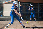Western Nevada's Dakota Robinson (12) attempts a hit against a Salt Lake Community College pitch during the second game of a two game series in Carson City, Nev. on Saturday, March 7, 2015. Western Nevada was defeated in the second game by Salt Lake Community College 10-1. (Photo by Kevin Clifford/WNC).