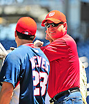 3 July 2010: Washington Nationals' Owner Mark Lerner (right) chats with catcher Wil Nieves prior to a game against the New York Mets at Nationals Park in Washington, DC. The Nationals defeated the Mets 6-5 in the third game of their 4-game series. Mandatory Credit: Ed Wolfstein Photo