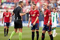 Brandon (forward; CA Osasuna) and Kike Barja (forward; CA Osasuna) with the referees during the Spanish football of La Liga 123, match between CA Osasuna and Cordoba CF at the Sadar stadium, in Pamplona (Navarra), Spain, on Saturday, October 13, 2018.