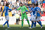 St Johnstone v Hearts&hellip;17.09.16.. McDiarmid Park  SPFL<br />Man of the Match Zander Clark celebrates at full time with his team mates<br />Picture by Graeme Hart.<br />Copyright Perthshire Picture Agency<br />Tel: 01738 623350  Mobile: 07990 594431