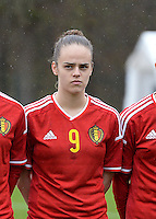 20150404 - FORST , GERMANY  : Belgian Amber Maximus pictured during the soccer match between Women Under 19 teams of Belgium and Ukraine , on the first matchday in group 5 of the UEFA Elite Round Women Under 19 at WaldseeStadion , Forst , Germany . Saturday 4th April 2015 . PHOTO DAVID CATRY