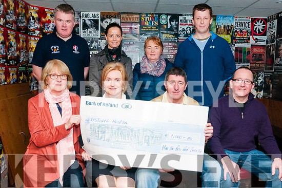 Cheque Presentation : Brendan Kelliher, Chairman of Mike the Pies Golfing Society presenting a cheque for €1100.00 to Patricia McEnery Noonan, director of nursing at Listowel Community Hospital at Mike The Pies Bar, Listowel on Tuesday last. Front : Marlyn Kelly, Patricia McEnery Noonan, Brendan Kelliher & Tommy Canavan, Back: Aisan O'Connor, Helen Hayes, Joan O'Connor & Adrian Grimes.