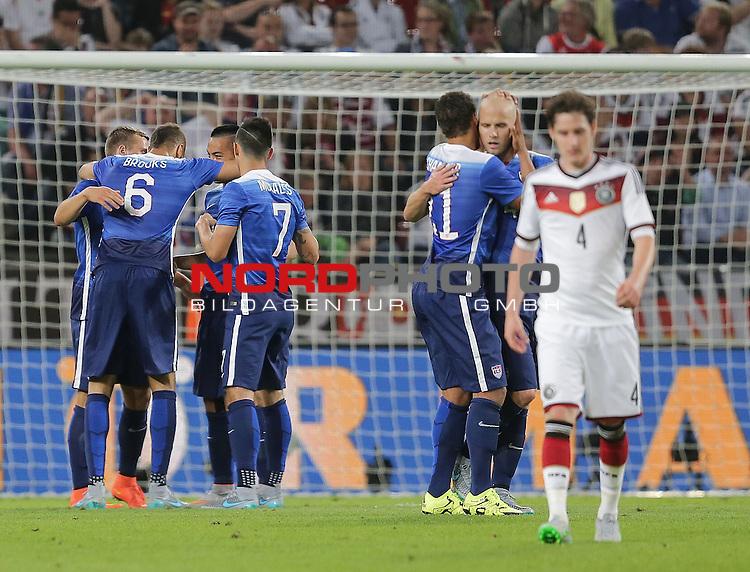 DFB Freundschaftsl&auml;nderspiel, Deutschland vs. USA<br /> Bobby Wood (USA) freut sich &uuml;ber sein Tor zum 2:1<br /> <br /> Foto &copy; nordphoto /  Bratic