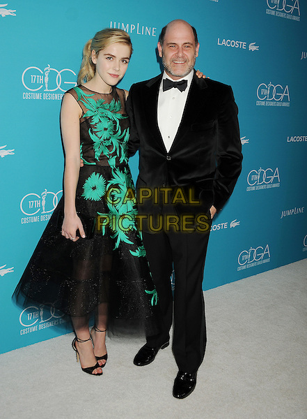 BEVERLY HILLS, CA - FEBRUARY 17: Actress Kiernan Shipka and writer/producer Matthew Weiner attend the 17th Costume Designers Guild Awards at The Beverly Hilton Hotel on February 17, 2015 in Beverly Hills, California.<br /> CAP/ROT/TM<br /> &copy;TM/ROT/Capital Pictures