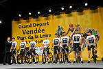 Team Sky on stage at the Team Presentations for the 105th Tour de France 2018 held on Napoleon Square in La Roche-sur-Yon, France. 5th July 2018. <br /> Picture: ASO/Bruno Bade | Cyclefile<br /> All photos usage must carry mandatory copyright credit (&copy; Cyclefile | ASO/Bruno Bade)