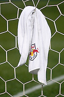 A detail shot of a Red Bulls towel hanging from the goal netting. The New York Red Bulls and the Houston Dynamo played to a 1-1 tie during a Major League Soccer match at Giants Stadium in East Rutherford, NJ, on May 16, 2009.