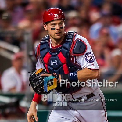 7 October 2017: Washington Nationals catcher Matt Wieters in action during the second NLDS game against the Chicago Cubs at Nationals Park in Washington, DC. The Nationals defeated the Cubs 6-3 and even their best of five Postseason series at one game apiece. Mandatory Credit: Ed Wolfstein Photo *** RAW (NEF) Image File Available ***
