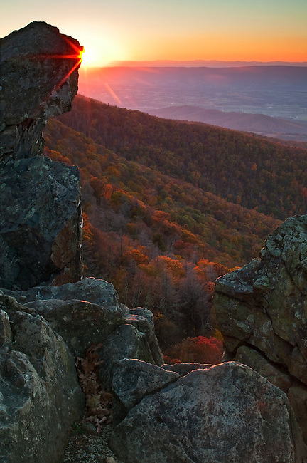 Sunset framed with Little Stony Man Cliffs, Shenandoah National Park