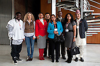 Switzerland. Geneva. World Health Organisation (WHO). Stop TB Partnership. Workshop with a group of national ambassadors against tuberculosis: (Left to right) Obour, Ghana, Pop singer. Sonia Goldemberg, Peru, Journalist. Gerry Elsdon, South Africa, TV presenter. Behrooz Sabzwari, Pakistan, TV movie actor. Deespasri Niraula, Nepal, TV movie actress. Awad Ibrahim Awad, Sudan (North),TV presenter. Rania Ismail, Jordan, actress. Deepak Raj Giri, Nepal, TV movie actor. 5.12.2011 © WHO /Didier Ruef