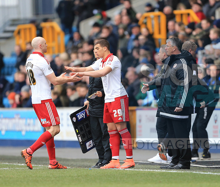 Sheffield United's Che Adams comes on for Conor Sammon during the League One match at The Den.  Photo credit should read: David Klein/Sportimage