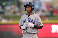 Lake County Captains shortstop Francisco Lindor #12 looks on during a game against the Dayton Dragons at Fifth Third Field on June 25, 2012 in Dayton, Ohio. Lake County defeated Dayton 8-3. (Brace Hemmelgarn/Four Seam Images)