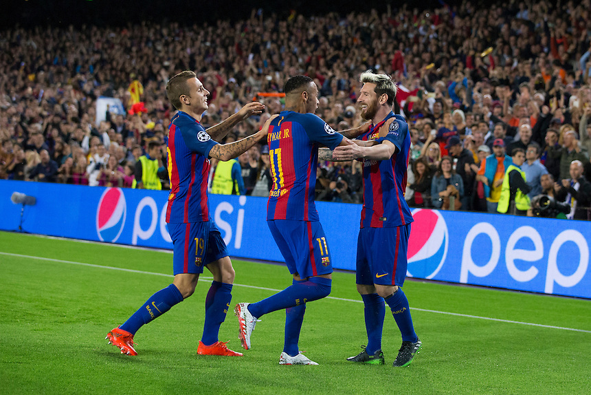 Barcelona's Lionel Messi (right) celebrates scoring the opening goal with team mates Neymar (centre) and Lucas Digne (left)<br /> <br /> Photographer Craig Mercer/CameraSport<br /> <br /> UEFA Champions League Group C - Barcelona and Manchester City - Wednesday 19th October 2016 - Camp Nou - Barcelona - Spain<br />  <br /> World Copyright &copy; 2016 CameraSport. All rights reserved. 43 Linden Ave. Countesthorpe. Leicester. England. LE8 5PG - Tel: +44 (0) 116 277 4147 - admin@camerasport.com - www.camerasport.com