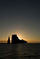 These two vertical rocks know as Kicker Rock are located in the Galápagos islands of the coast of San Cristóbal. They are the remains of an ancient lava cone that has been eroded by the sea and rise 500 feet above the ocean.