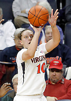 Virginia guard Kelsey Wolfe (10) shoots a 3-point play during the game Thursday in Charlottesville, VA. Virginia defeated Maryland 86-72. Photo/The Daily Progress/Andrew Shurtleff