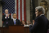 United States Secretary of State John Kerry applauds as U.S. President Barack Obama gives his State of the Union address during a joint session of Congress on Capitol Hill in Washington, DC on February 12, 2013.   .Credit: Charles Dharapak / Pool via CNP