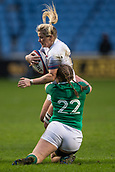 16th March 2018, Ricoh Arena, Coventry, England; Womens Six Nations Rugby, England Women versus Ireland Women; Rachael Burford of England is tackled by Michelle Claffey of Ireland