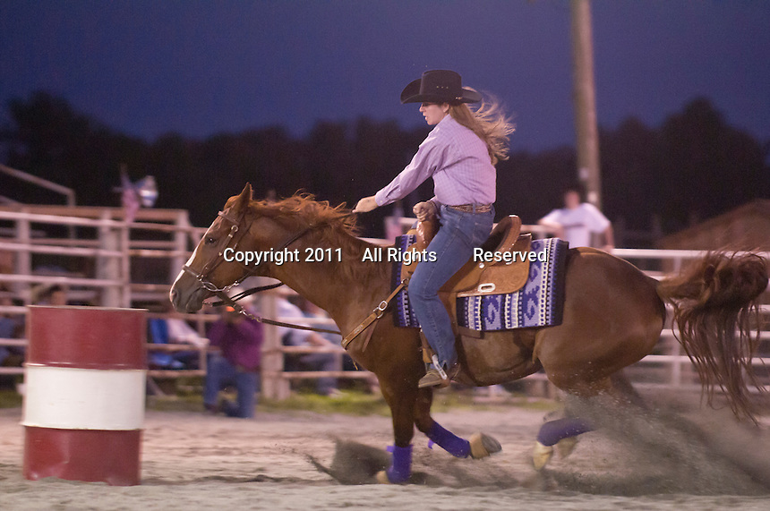 Johnsville, MD: J Bar W Ranch -- Julie Stoval approaching the 2nd barrel.