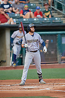 Austin Dean (9) of the New Orleans Baby Cakes at bat against the Salt Lake Bees at Smith's Ballpark on August 4, 2019 in Salt Lake City, Utah. The Baby Cakes defeated the Bees 8-2. (Stephen Smith/Four Seam Images)