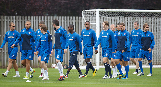 The threadbare Rangers first team squad at training