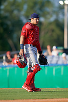 State College Spikes catcher Carlos Soto (28) during a NY-Penn League game against the Batavia Muckdogs on July 2, 2019 at Dwyer Stadium in Batavia, New York.  Batavia defeated State College 1-0.  (Mike Janes/Four Seam Images)