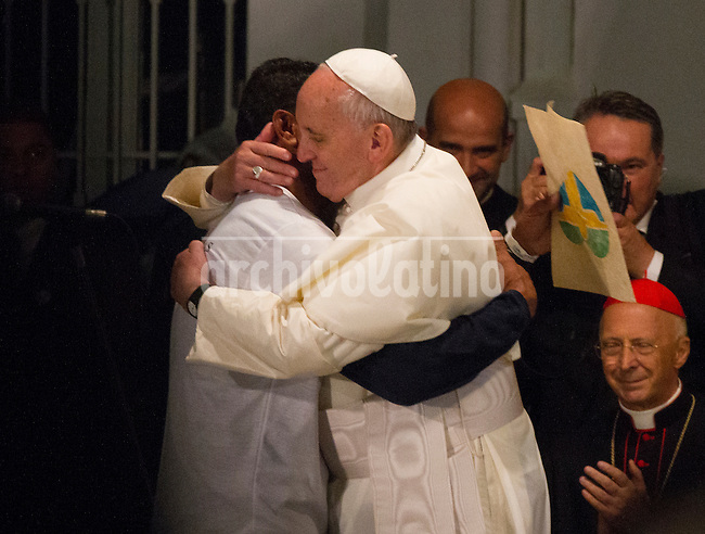 Pope Francis during a visit to rehabilitation center for addicts in Rio de Janeiro, Brazil