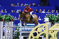 OMAHA, NEBRASKA - MAR 31: Charlie Jacobs rides Cassinja S during the FEI World Cup Jumping Final II at the CenturyLink Center on March 31, 2017 in Omaha, Nebraska. (Photo by Taylor Pence/Eclipse Sportswire/Getty Images)