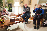 Cynthia Piltch (right), of Lexington, Mass., speaks while former Massachusetts governor Michael Dukakis (left) and Piltch's husband Jamie Katz (center) listen during a support group for people who have had electroconvulsive therapy in the Dukakis' home in Brookline, Massachusetts, USA, on Sun., Dec. 4, 2016. Katz has undergone electroconvulsive therapy. Dukakis' wife Kitty Dukakis used ECT to treat depression and substance abuse issues. She continues to have ECT treatments about once every seven or eight weeks.