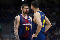 FC Barcelona Lassa Adrien Moerman and Pierre Oriole during Liga Endesa match between Estudiantes and FC Barcelona Lassa at Wizink Center in Madrid, Spain. October 22, 2017. (ALTERPHOTOS/Borja B.Hojas) /NortePhoto.com