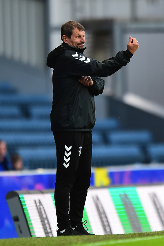 Oldham Athletic manager Laurent Banide gestures<br /> <br /> Photographer Richard Martin-Roberts/CameraSport<br /> <br /> The Carabao Cup First Round - Tuesday 13th August 2019 - Blackburn Rovers v Oldham Athletic - Ewood Park - Blackburn<br />  <br /> World Copyright © 2019 CameraSport. All rights reserved. 43 Linden Ave. Countesthorpe. Leicester. England. LE8 5PG - Tel: +44 (0) 116 277 4147 - admin@camerasport.com - www.camerasport.com