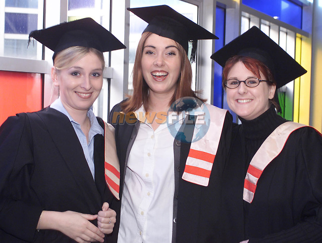Tara Coleman, (Left) Suzanne Corr and Emma Swarbrigg, Bay Estate who received Certificates in Business Studies at the Dundalk Institute of Technology Annual Conferring.