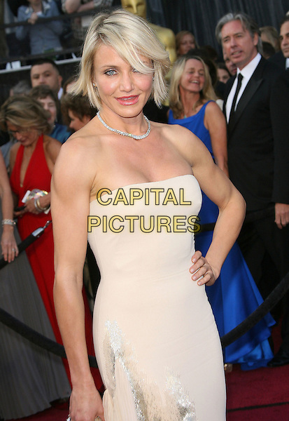 Cameron Diaz.84th Annual Academy Awards held at the Hollywood & Highland Center, Hollywood, California, USA..February 26th, 2012.oscars half length beige strapless dress hand on hip diamond necklace .CAP/ADM.©AdMedia/Capital Pictures.
