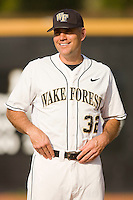 Wake Forest Demon Deacons head coach Tom Walter #32 at the Wake Forest Baseball Park April 23, 2010, in Winston-Salem, NC.  Photo by Brian Westerholt / Sports On Film