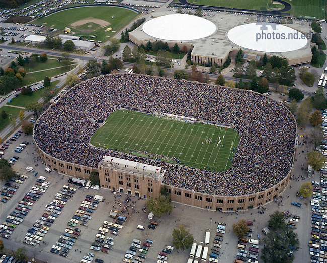 GPHR co/0451:  Football Game Day - Notre Dame vs. Arizona, 1982/1016.  Aerial view of Notre Dame Stadium and the Joyce Athletic and Convocation Center (JACC).  Image from the University of Notre Dame Archives.