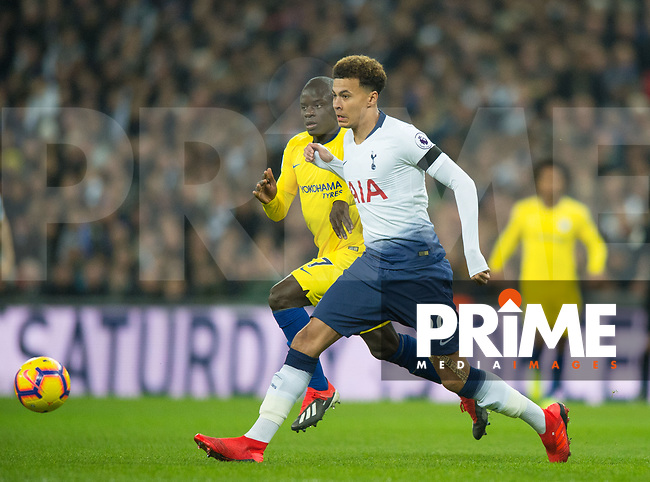 Tottenham's Dele Alli during the Premier League match between Tottenham Hotspur and Chelsea at Wembley Stadium, London, England on 24 November 2018. Photo by Andrew Aleksiejczuk / PRiME Media Images.