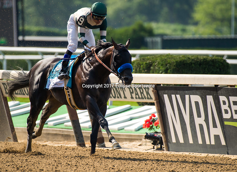 ELMONT, NY - JUNE 10: Mor Spirit #9, ridden by Mike Smith, wins the Mohegan Sun Metropolitan Handicap on Belmont Stakes Day at Belmont Park on June 10, 2017 in Elmont, New York (Photo by Dan Heary/Eclipse Sportswire/Getty Images)