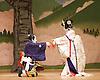 Kabuki <br /> featuring Ebizo Ichikawa XI<br /> at Sadler's Wells, London, Great Britain <br /> rehearsal <br /> 3rd June 2010 <br /> <br /> Ichikawa Ebizo (as Sato Tadanobu / the fox Genkuro)<br /> <br /> Nakamura Shibajaku (as Shizauka)<br /> <br /> <br /> Photograph by Elliott Franks