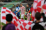 Wes Morgan of Leicester City and Ryan Shawcross of Stoke City lead out the teams during the English Premier League match at the Bet 365 Stadium, Stoke on Trent. Picture date: December 17th, 2016. Pic Simon Bellis/Sportimage