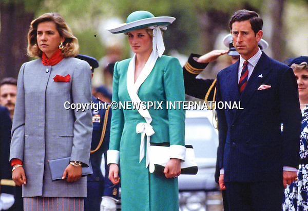 "PRINCE CHARLES AND PRINCESS DIANA SPANISH TOUR 1987.official welcome at the start of their Royal tour of Spain, Palacio Del Pardo, Madrid_April 1987..Picture Shows: The Royal couple with Infanta Cristina of Spain.Mandatory Credit Photo: ©Francis Dias/NEWSPIX INTERNATIONAL..**ALL FEES PAYABLE TO: ""NEWSPIX INTERNATIONAL""**..IMMEDIATE CONFIRMATION OF USAGE REQUIRED:.Newspix International, 31 Chinnery Hill, Bishop's Stortford, ENGLAND CM23 3PS.Tel:+441279 324672  ; Fax: +441279656877.Mobile:  07775681153.e-mail: info@newspixinternational.co.uk"