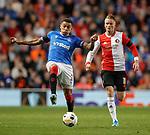 19.09.2019 Rangers v Feyenoord: James Tavernier and Sam Larsson