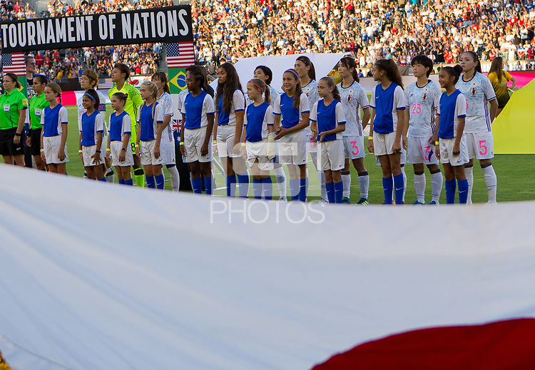 Carson, CA - Thursday August 03, 2017: Japan starting elevenJapan during a 2017 Tournament of Nations match between the women's national teams of the United States (USA) and Japan (JAP) at StubHub Center.
