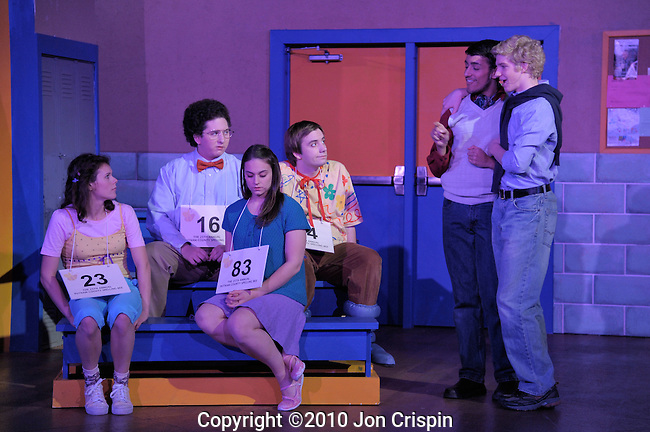 "UMASS production of ""The 25th Annual Putnam County Spelling Bee""..© 2010 JON CRISPIN .Please Credit   Jon Crispin.Jon Crispin   PO Box 958   Amherst, MA 01004.413 256 6453.ALL RIGHTS RESERVED.JON CRISPIN ."