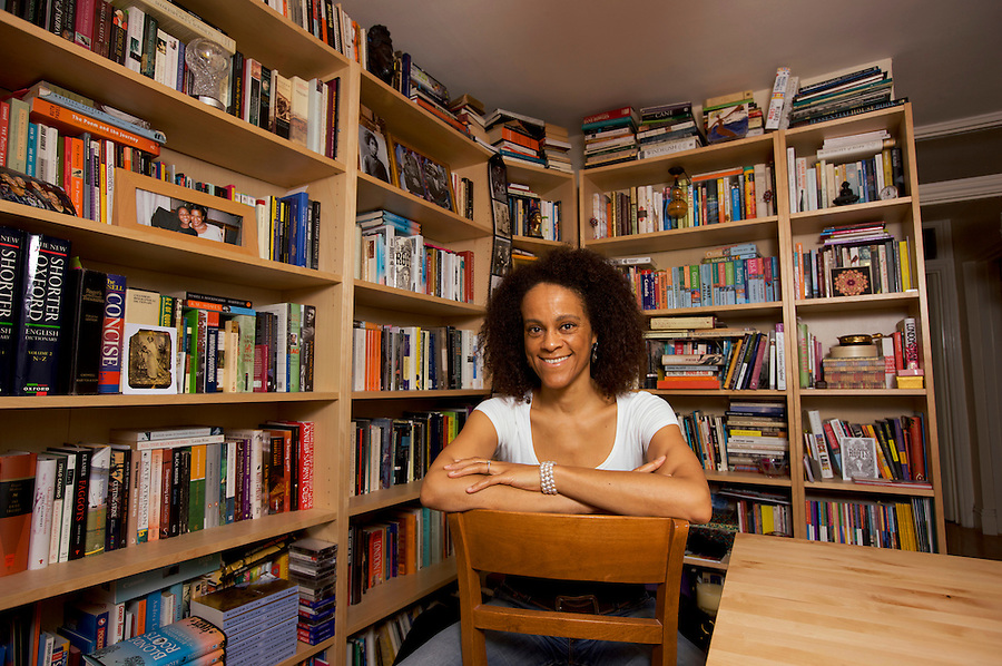 Novelist Bernardine Evaristo, photographed in her West London ( UK ) writing study. She is the author of 'Blonde Roots' in which the European-African slave trade is reversed.