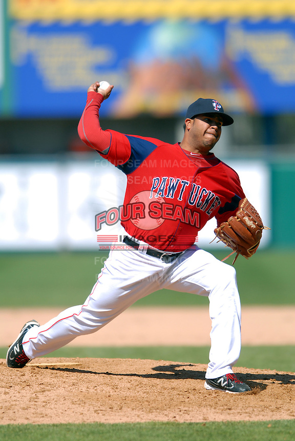 Pitcher Clevelan Santeliz #30 of the Pawtucket Red Sox during a game versus the Syracuse Chiefs on April 21, 2011 at McCoy Stadium in Pawtucket, Rhode Island. Photo by Ken Babbitt /Four Seam Images