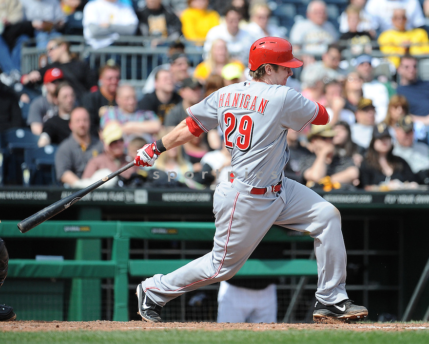 Cincinnati Reds Ryan Hanigan (29) during a game against the Pittsburgh Pirates on April 14, 2013 at PNC Park in Pittsburgh, PA. The Pirates beat the Reds 10-7..